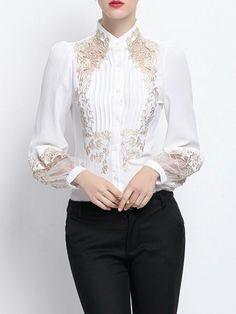 white Embroidered Shirt Collar H-line Long Sleeve Blouse Hijab Fashion, Fashion Dresses, Maxi Dresses, Mode Ab 50, Beautiful Blouses, Blouse Designs, Fashion Online, Feminine, Stylish