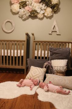 pink ivory and grey twin girls nursery shared sibling room