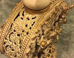 1950s Gold Ormolu Filigree White Washed Perfume Bottle