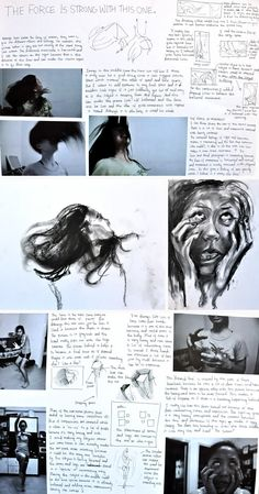 In the early phase of her GCSE Art exam preparation, Samantha directed a friend to pose in various positions, while she took quality, original photographs. Working from these photographs, Samantha then produced quick, gestural charcoal drawings. These identify the important components of her project: emotive facial expressions and swirling hair, defying gravity.
