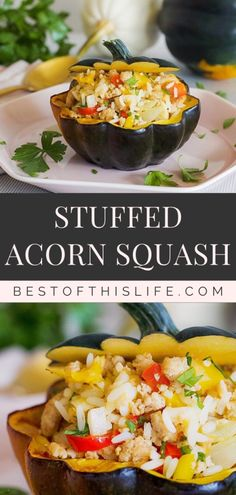 Nothing says autumn like a delicious #squashrecipe - This stuffed #acornsquash is a perfect #familymeal to enjoy during the fall. The mix of ground turkey, rice, red and yellow peppers, onions, and parsley complement the richness of the squash beautifully. #stuffedacornsquash #fallrecipe #fallrecipes Rice Stuffing, Squash Varieties, Baked Squash, Fall Dishes, Acorn Squash, Fall Recipes, Drink Recipes, Good Healthy Recipes, Savoury Dishes