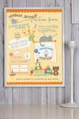 Купить Постер в раме с Вашим текстом «Правила кухни» за 1700руб. | Красный Куб