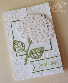 handmade card from scraphexe.de ... front of fancy fold card ... die cut hydrangea using Thoughtful Branches ... luv the debossed side of the petals embossing folder texture ... Stampin' Up!