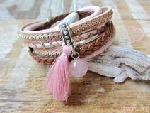 Wickelarmband ★ rosa nude cognac Leder Rosenquarz