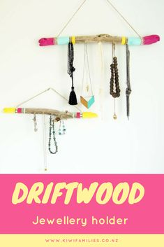 DIY jewellery hanger - painted driftwood. This driftwood jewellery hanger is a great craft idea for older kids. And great for organising all your kid's jewellery.