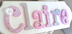 Custom Baby Name Sign - Wooden Nursery Letters- Childrens Room - PINK AND GRAY- Girl Room Nursery Decor -Personalized Name Art