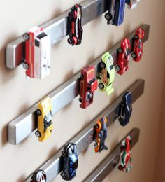 Kid's room storage hack! Magnet the Hot Wheels to the wall and stop stepping on them.