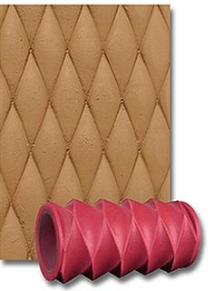 Diamond textured clay roller sleeve and example