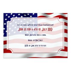 810 best patriotic invitations images on pinterest invitation 4th of july stars and stripes forever flag 35x5 paper invitation card stopboris Image collections