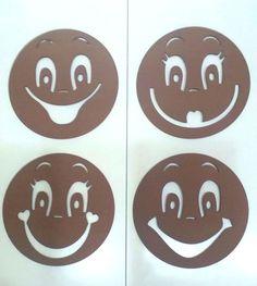 Plantillas para cara de fofuchas de 9 cm de diámetro, 4 modelos. Mod.4