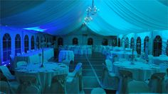 Light blue wedding coloured lights On Your Wedding at DJ MAGOO we let you select your room to be any colour you want!
