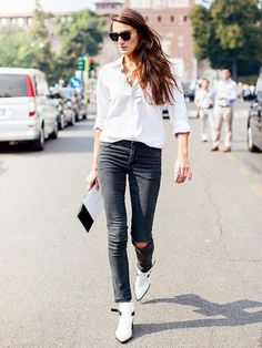 Tip of the Day: The French Way To Wear Your Button-Down Shirt via @WhoWhatWear