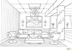 Living Room with Fireflies coloring page Free Printable Coloring Pages in 2020 Coloring pages Room colors Blue rooms