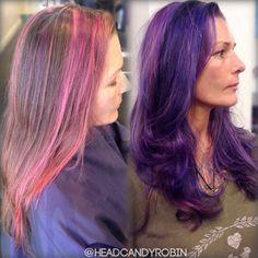 Multi dimensional purple hair with a shadow root! Beautiful work by Robin!    #salonheadcandy #arcticfoxhaircolor #purplehair #purplebalayage
