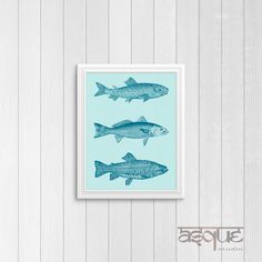 """Our new """"Blue Fish Trio"""" Art Print would look great on a wall, desk or mantle in any room! This is a quick and affordable way to display artwork in your home... just download and print! Digital prints also make great last minute gifts!    ✱ PRODUCT DETAILS ✱   • This is a DIGITAL DOWNLOAD of one high quality (300dpi) 8x10 JPEG file that is ready to print.   • At checkout, you will receive an 8''x10'' printable but if you would like a different size, just let us know! (This listing also…"""