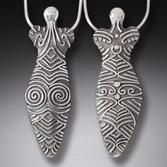 Silver Goddess Jewelry—Cucuteni Goddess Pendant, Front and Back DetailedThis holloware silver goddess pendant is inspired by an ancient civilization's art, re-imagined as a gorgeous pendant. The Cucuteni culture, considered the birth of Europe Ancient Goddesses, Goddess Art, Clay Figurine, Pendant Design, Ancient Jewelry, Ancient Art, Handmade Silver, Sculpture Art, Ancient Civilizations