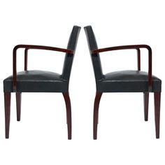 French Art Deco Period Leather Bridge Chairs $2200