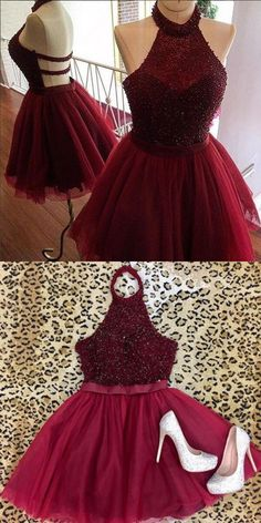 burgundy short party dresses,unique beaded homecoming dress,halter tulle prom dress,sexy backless gowns for teens