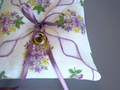 Wedding Ring Bearer Pillow, Lavender Purple, Summer Wedding, Handkerchief Pillow, Vintage Wedding. $35.00, via Etsy.