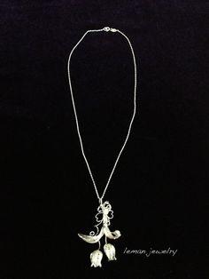 1000K  Silver Telkari Tullip Design NECKLACE by LEMANdesignjewelry, $75.00