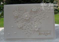 """Schlichte Hochzeitskarte mit der Thinlits Form """"Blühendes Herz"""""""