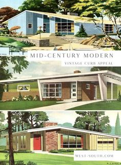 Mid Century Modern Colors, Mid Century Decor, Mid Century Design, Mid Century Modern Home, Mid Century Ranch, Mid Century House, Vintage House Plans, Modern House Plans, Modern Exterior