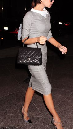 Victoria Beckham. She designs the most beautifully tailored dresses! ...and check out that lovely arch on her foot; No wonder she can wear towering heels effortlessly.