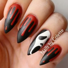 "nailsbycolette: "" Every year at the beginning of October this little design I did a few years ago starts to circulate back around again so I thought I'd redo a better version of it for you all! ❤ www.Instagram.com/NailsByColette "" Halloween/H"
