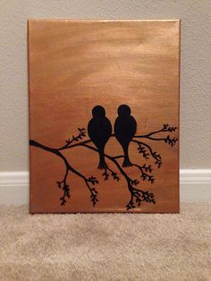 Gold background with two birds on a tree branch. Canvas with acrylic. 11x14  Please allow 1-3 days for painting and 1-3 days for shipping.