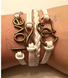 Amazing Wedding/Bridesmaid Charm Bracelets for Cheap! White, Love, Hearts, Infinity, Charm, Bracelet! Etsy.com