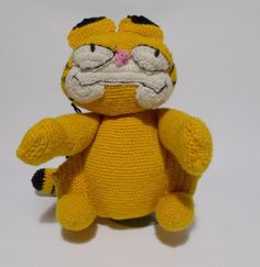"Ugly Cute Crochet Garfield Plush Vintage Handmade 11"" Tall #Handmade #UglyCute"