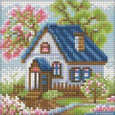 DPAZ1567 Cross Stitch House, Cross Stitch Needles, Cross Stitch Charts, Cross Stitch Designs, Cross Stitch Patterns, Crewel Embroidery, Ribbon Embroidery, Cross Stitch Embroidery, Crochet Earrings Pattern