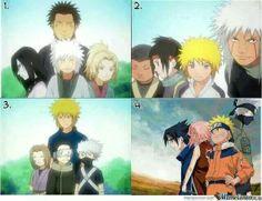 Anime/manga: Naruto (Shippuden) Characters: Sarutobi, Orochimaru, Jiraya, Tsunade, ?, ?, Minato, Jiraya, Minato, Rin, Obito, Kakashi, Sasuke, Sakura, Naruto, and Kakshi, teams.