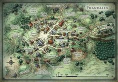 """Phandalin This map of the Forgotten Realms village of Phandalin was originally created as the home base for the D&D Starter Set adventure """"Lost Mine of Phandelver"""". Fantasy Map Maker, Fantasy City Map, Fantasy Rpg, Lost Mines Of Phandelver, Grimgar, Village Map, Rpg Map, Adventure Map, Forgotten Realms"""