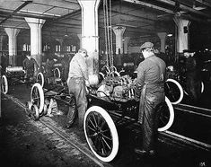 assembly line production of the first Ford automobiles