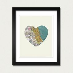 Chicago heart map - perfect for next year's dorm decor
