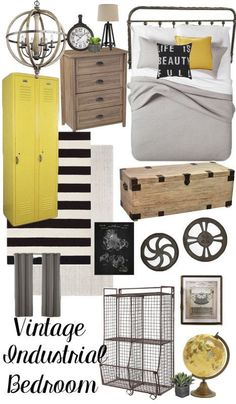 Vintage Industrial Bedroom Design Plan - This Design Board includes industrial decor that can easily be incorporated into rustic farmhouse decorating or urban industrial