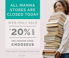 All Manna Stores are closed today. Shop manna.co.nz and use this Coupon Code: CHOOSEUS at the checkout to redeem *20% off. Offer expires midnight 26 April 2021 and is valid online only. Terms & conditions apply. . . #books #fiction #homeware #jewellery #christianbooks #christiangifts #sale #mannanz #mannachristianstores #sustainyourjourney #feedyourfaith #christianinspiration #gifts #bibles #biblestudies #devotionals #journals #planners #accessories #biblesocietynz Only Sale, Christian Gifts, Christian Inspiration, Coupon Codes, Planners, Journals, Coupons, Fiction, Coupon