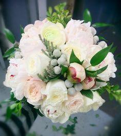 Bridal bouquet - Peonies, Garden Roses, Silver Brunia, Dusty Miller, Boxwood, Ranunculus, & Italian Ruscus. #studioag #studioagdesign