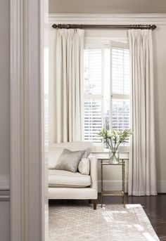 I love this room! // This rug // Combining plantation shutters with curtains privacy cosiness warmth Curtains With Plantation Shutters, Window Shutters, White Shutters, Interior Shutters, Window Blinds, Window Seats, White Walls, Windows, Furniture