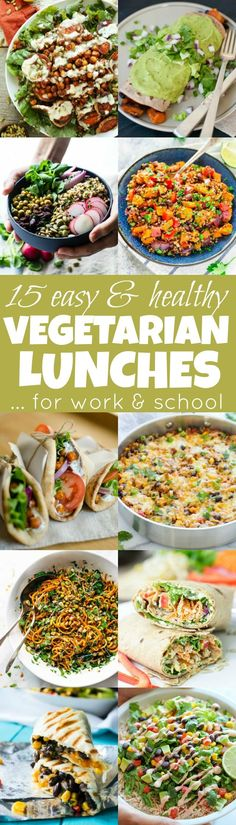 in a meal prep rut? Get inspired by these easy & healthy vegetarian lunches! Stuck in a meal prep rut? Get inspired by these easy & healthy vegetarian lunches! They're nutritious, delicious and perfect to pack for work and school! Vegetarian Meal Prep, Vegetarian Lifestyle, Delicious Vegetarian Meals, Meal Prep For Vegetarians, Veg Meal Prep, Vegetarian Weight Loss Plan, Veggie Meal Plan, Meal Prep For Work, Vegetarian Diets