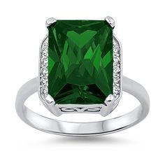 Amazon.com: 925 Sterling Silver Emerald Ring with Clear CZ Stones - Large Stone Cocktail Ring- May Birthstone Rings: Jewelry