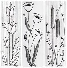 Flower Drawing Flower doodle ideas - love the length and flow - these would make lovely bookmarks. Doodle Drawings, Doodle Art, Zen Doodle, Doodle Inspiration, Doodle Ideas, Creative Inspiration, Flower Doodles, Doodle Flowers, Doodles Zentangles