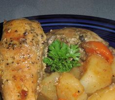 Slow cooker rabbit in beer.Dressed rabbit with vegetables and beer cooked in slow cooker.