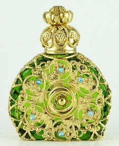 Bohemian Perfume Bottle Vintage Vanity Gold Tone by Ameliescharm, $29.00