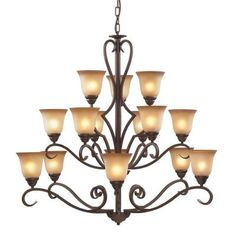 Titan Lighting Lawrenceville 12-Light Mocha Ceiling Chandelier