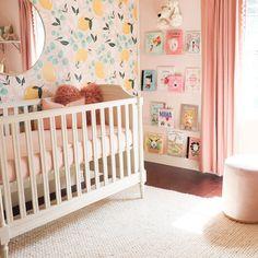 Project Nursery - Lemon Wallpaper in Pink Girls Nursery Design: Melissa Grace Designs Baby Nursery Decor, Project Nursery, Nursery Neutral, Nursery Design, Nursery Themes, Room Themes, Girl Nursery, Nursery Ideas, Nursery Furniture
