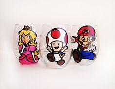 Mario Party – Stemless wine glasses – pick your characters