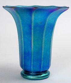 Steuben aurene hand-blown trumpet-form vase in iridescent blue glass ...
