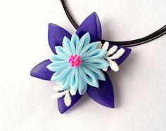Kanzashi Flower Statement Necklace Fabric by ScarlettandMaria